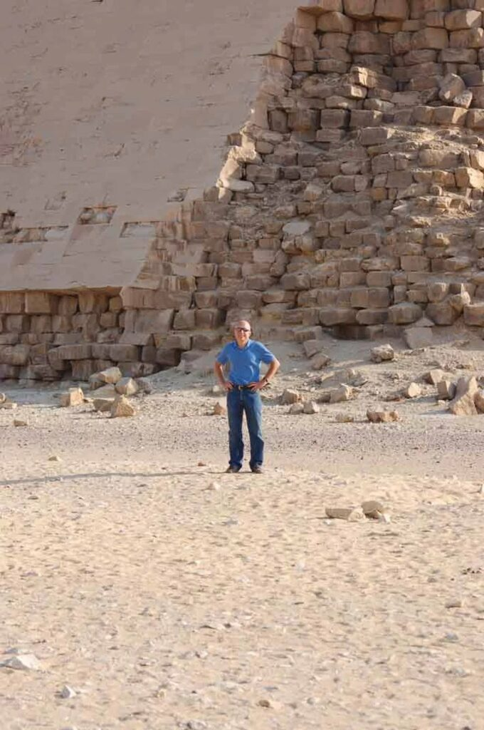 Professor Michel Barsoum stands before one of the Egyptian pyramids for which he has found evidence suggesting some of the stone blocks were cast, not quarried.