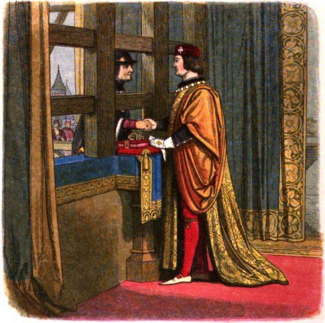Edward IV of England meets with Louis XI of France at Picquigny to affirm the Treaty of Picquigny