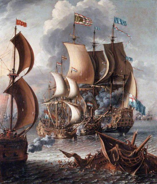 A Sea Fight with Barbary Corsairs by Laureys a Castro, c. 1681.