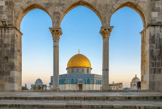 The Dome of the Rock (Qubbet el-Sakhra) is one of the greatest of Islamic monuments. It was built by Abd el-Malik. Jerusalem, Israel