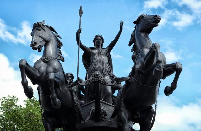 Statue of Boudicca, the Queen of the Celtic Iceni tribe, riding a horse-drawn chariot on the North side of Westminster Bridge, London.