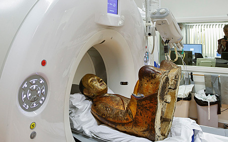 The scientists have conducted a CAT scan which revealed the monk's skeleton in perfect detail.