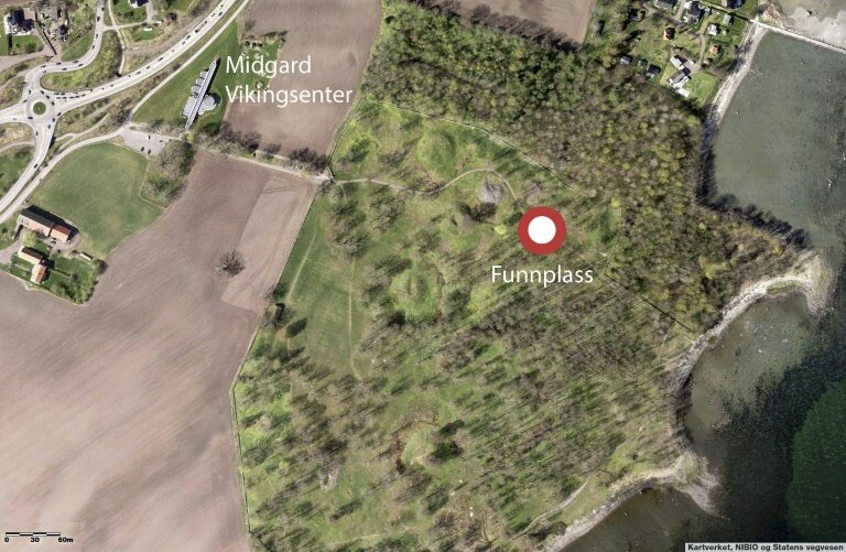 This handout picture released on March 25, 2019 by Vestfold Fylkeskommune shows Funnplass, where a ship's grave probably originated from the Viking Age has been discovered on a plain among the burial mounds in Borreparken in Vestfold, eastern Norway