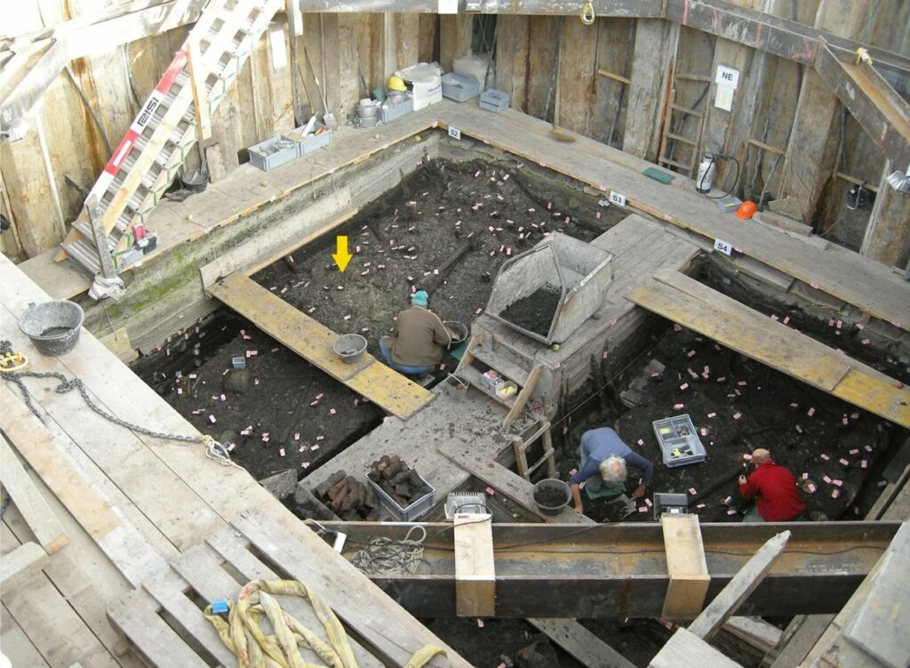 A view of the excavation where the blade was found in 2008.