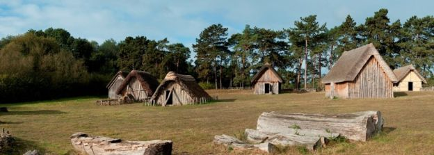 Anglo-Saxon villages featured wooden housing, similar to this recreation at West Stow in Suffolk