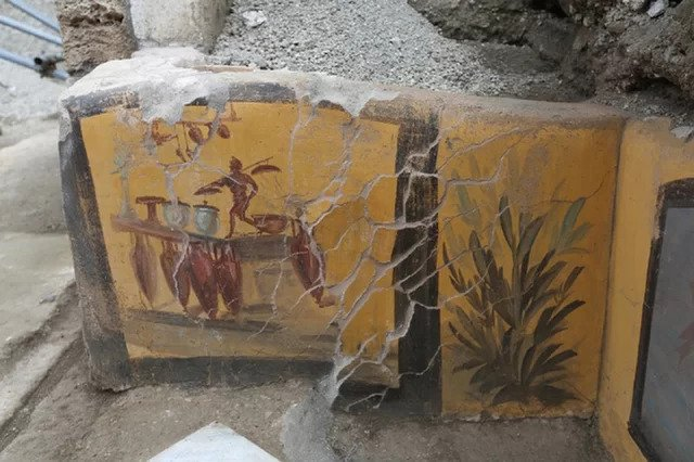 The paintings of the plant and the man working in a thermopolium.