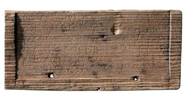 This tablet was found in a layer dated by MOLA to AD 43-53 so is thought to have been from the Romans' first decade of rule.