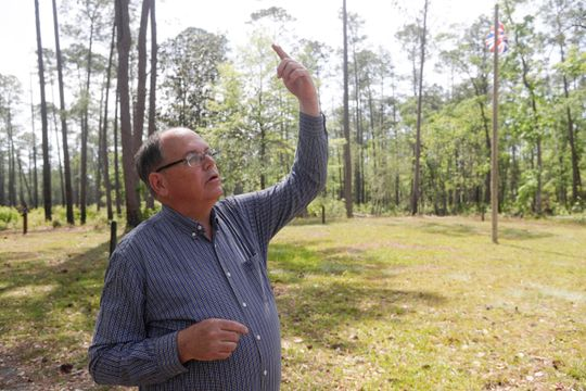 Local historian Dale Cox talks about the history of the Negro Fort that stood at Prospect Bluff in the Apalachicola National Forest Wednesday, April 17, 2019