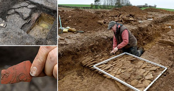 The 85m by 85m (278ft x 278ft) foundations date back to 99 AD and were discovered beneath a crop in a field near Broughton
