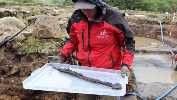 The first sword discovered had a bent tip suggesting it had been discarded
