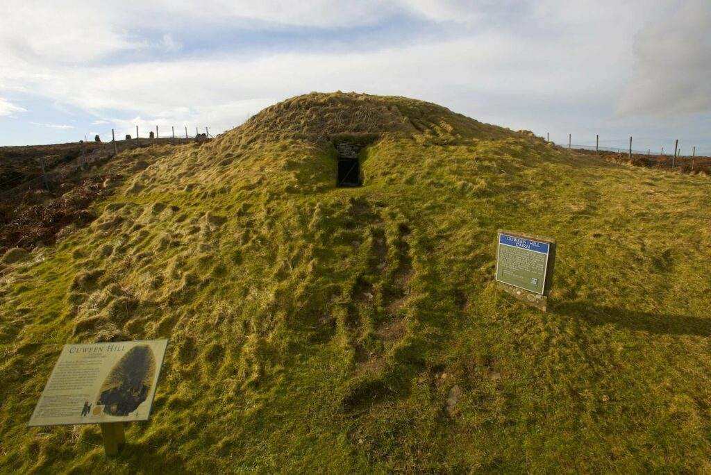 The Cuween Hill chambered cairn. (A cairn is a stone mound that serves as a memorial or landmark.)