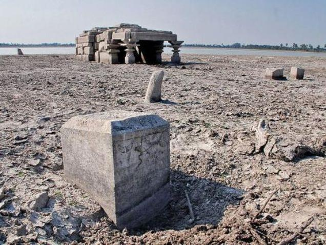 Swamy temple that had submerged under Udyasamudram reservoir a decade ago at Panagal in Nalgonda district.