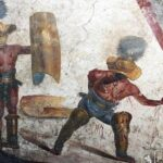 Ancient images of gladiators unearthed at the city of Pompeii